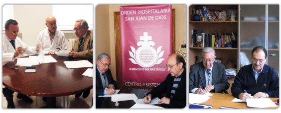 Firma de los diferentes convenios de colaboración con los centros sanitarios de San Juan de Dios de Burgos, Palencia y Valladolid