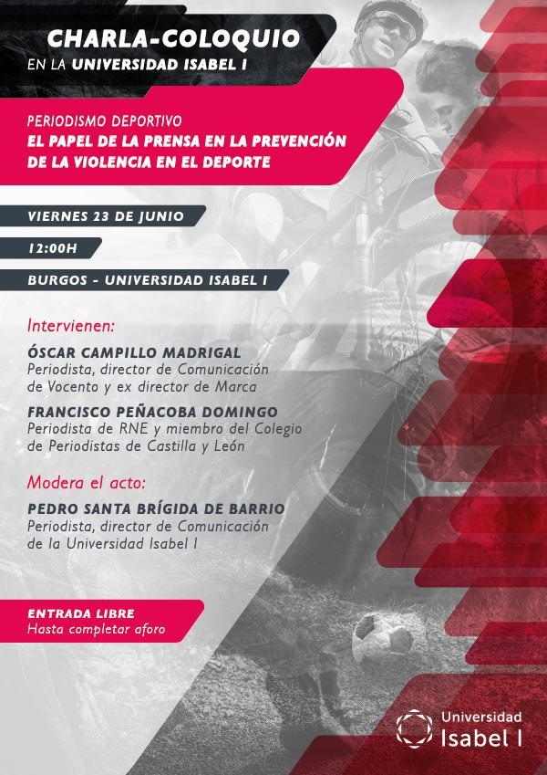 La Universidad Isabel I organiza la charla-coloquio 'Periodismo deportivo. El papel de la prensa en la prevención de la violencia en el deporte'