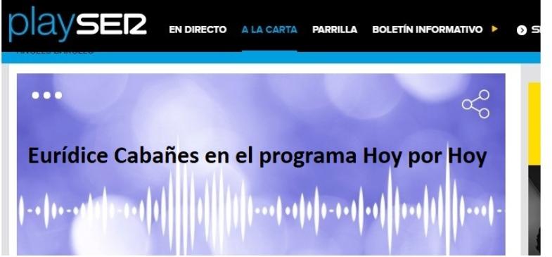 Eurídice Cabañes en el programa de la Ser, Hoy por Hoy, presentado por Angels Barceló.