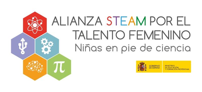 Logotipo del Ministerio de Educación del programa STEAM del que forma parte la Universidad Isabel I
