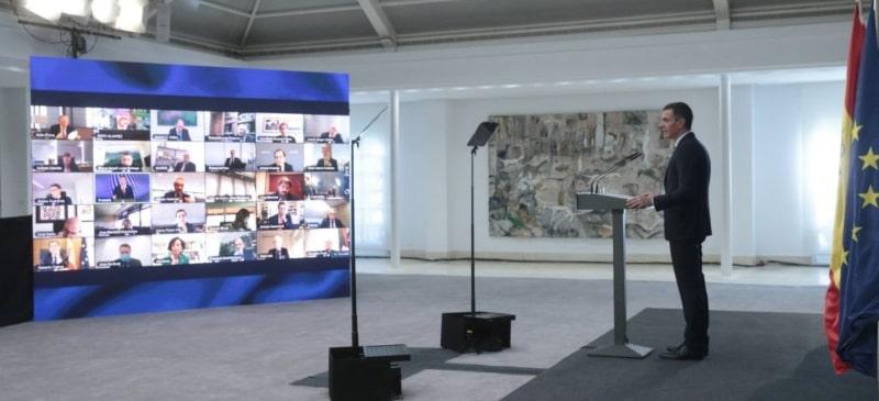 Pedro Sánchez en la rueda de prensa del Palacio de la Moncloa