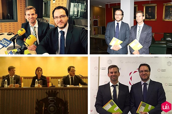 Los autores del libro, Víctor Cazurro y Javier Álvarez, en diferentes localizaciones el 29 de enero de 2015 en la presentación de 'Prácticum Protección de Datos 2015' en Valladolid