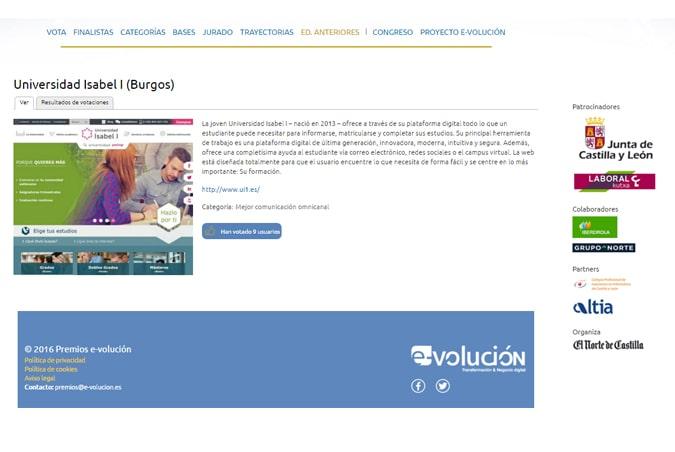 La Universidad Isabel I, finalista en los Premios E-volución de El Norte de Castilla