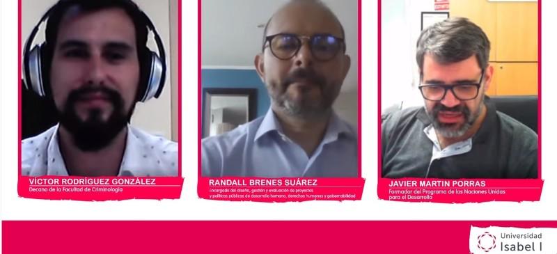 los tres ponentes del webinar