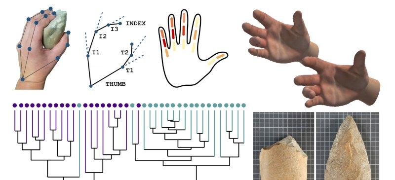 imagenes del estudo de las manos y los bifaces en la investigación