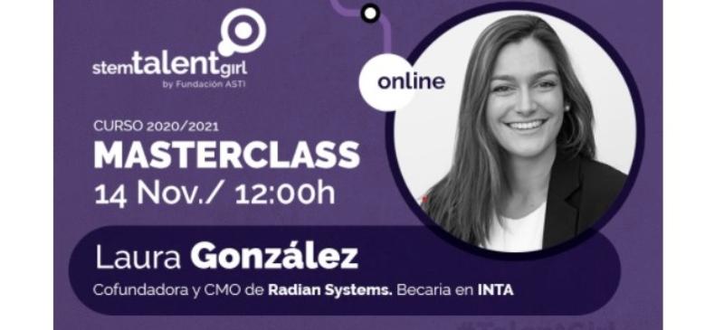 composición digital de presentación de la primera conferenciante de este curso stem, Laura González, ingeniera aeroespacial