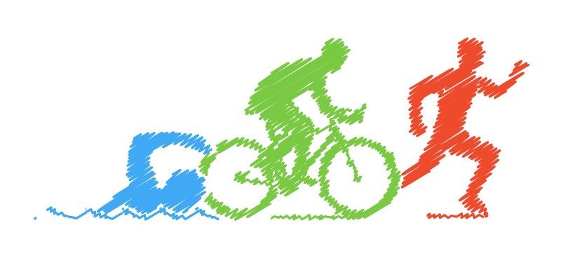 Ilustración de los tres deportes de triatlón: natación, ciclismo y carrera.