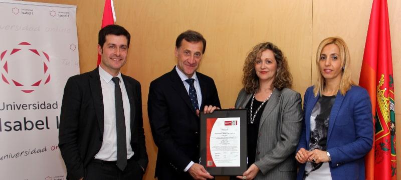 La Universidad Isabel I, pionera en recibir de Bureau Veritas la certificación de calidad en la norma internacional ISO 9001:2015