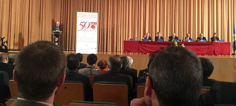 Francisco Javier Martín del Burgo y Olaia Abadía García de Vicuña asisten a los actos del 50 aniversario de INEF dela UPM