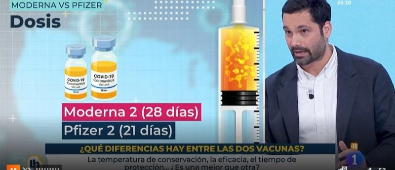 Luis Quevedo en el programa de TVE explica la diferencia y similitud de vacunas contra la covid-19 de Pfizer y Moderna